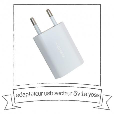 Adaptateur chargeur secteur usb 1V 5A Yoss
