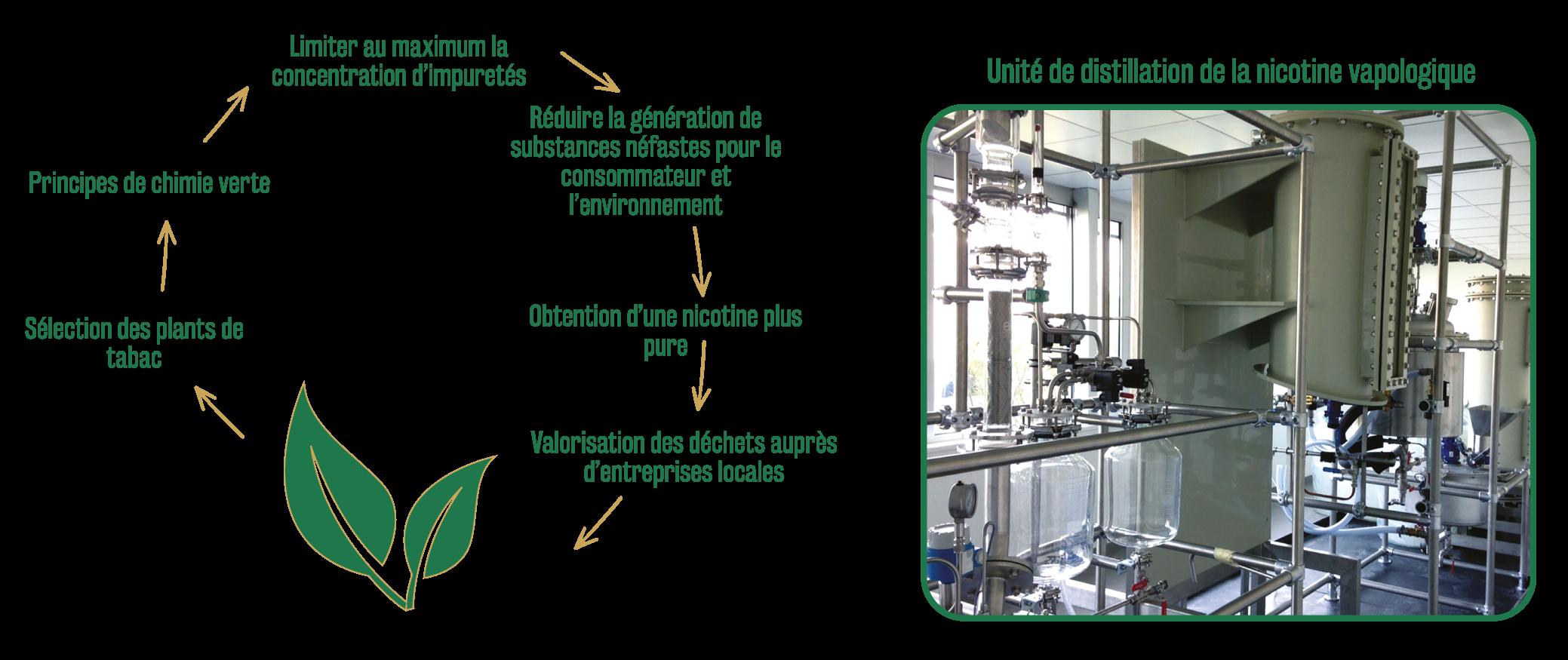 schema environnement et distillation nicotine